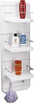 Upasana Work Bathmate Shower Unit 3 Step (White Colour) Plastic Wall Shelf