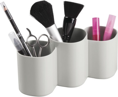 Interdesign Clarity Cosmetic Organizer Cup for Makeup Brushes, Beauty Products - Light Gray Plastic Wall Shelf