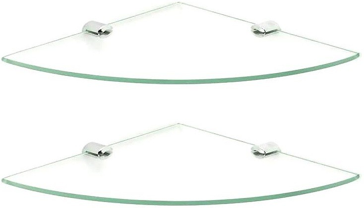 View royaL indian craft Brass Bracket 12 inch Double Corner Glass Wall Shelf(Number of Shelves - 2, Clear) Price Online(royaL indian craft)