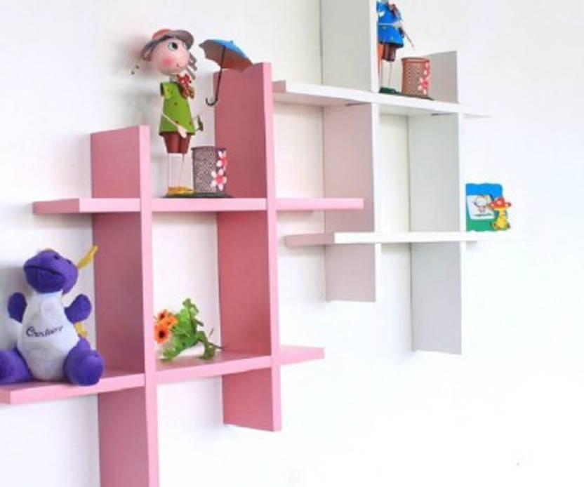 View skwoo MDF Wall Shelf(Number of Shelves - 2, Multicolor) Furniture (skwoo)