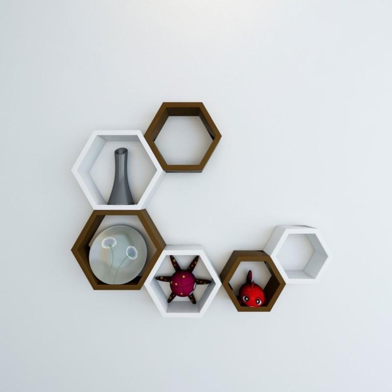 Wallz Art Hexagon Shape MDF Wall Shelf(Number of Shelves - 6, Brown)