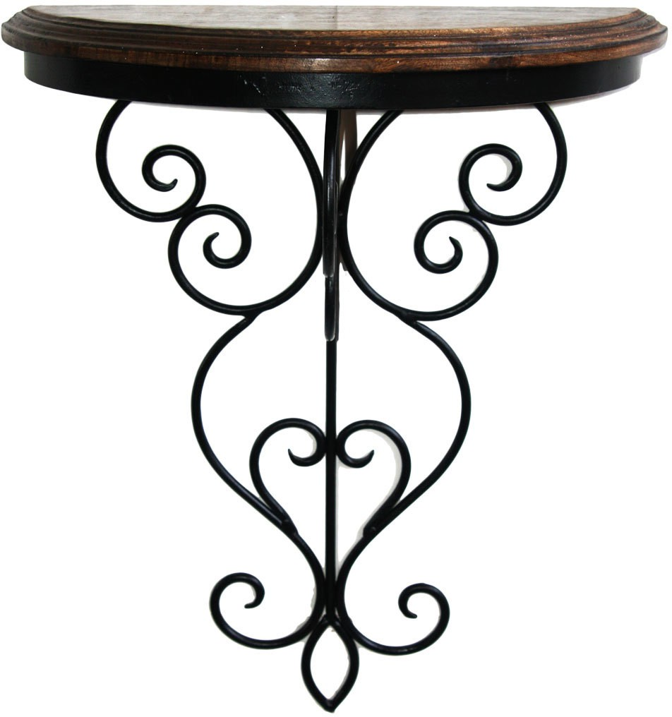 View Inspired Livingg Beautiful Wood & Iron Hand Forged Wall Bracket Iron, Wooden Wall Shelf(Number of Shelves - 1, Black) Furniture (Inspired Livingg)