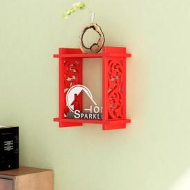 Home Sparkle Foldable Carved MDF Wall Shelf(Number of Shelves - 1, Red)