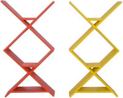 Dcjc Dcjc Zigzag Ladder Multicolour Set Of 2 MDF Wall Shelf
