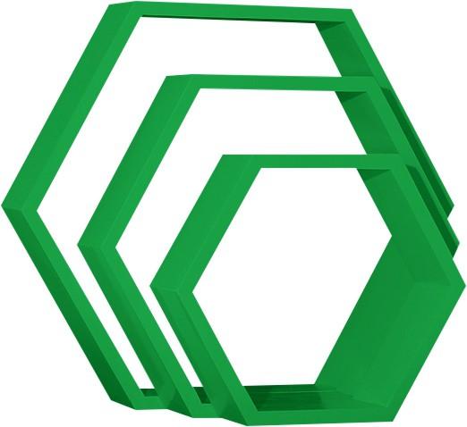 View Custom Decor Hexagon Wooden Wall Shelf(Number of Shelves - 3, Green) Furniture (Custom Decor)