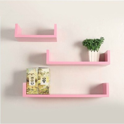 Onlineshoppee AFR514 Wooden Wall Shelf(Number of Shelves - 3, Pink)
