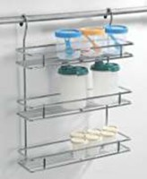 Lifetime Hanging Spice Rack(Without Rod) Stainless Steel Wall Shelf(Number of Shelves - 3, Silver)