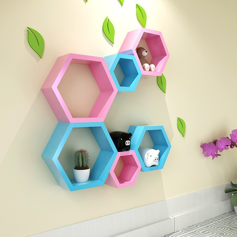 View hardika furniture hexagon MDF Wall Shelf(Number of Shelves - 6, Pink, Blue) Furniture (hardika furniture)