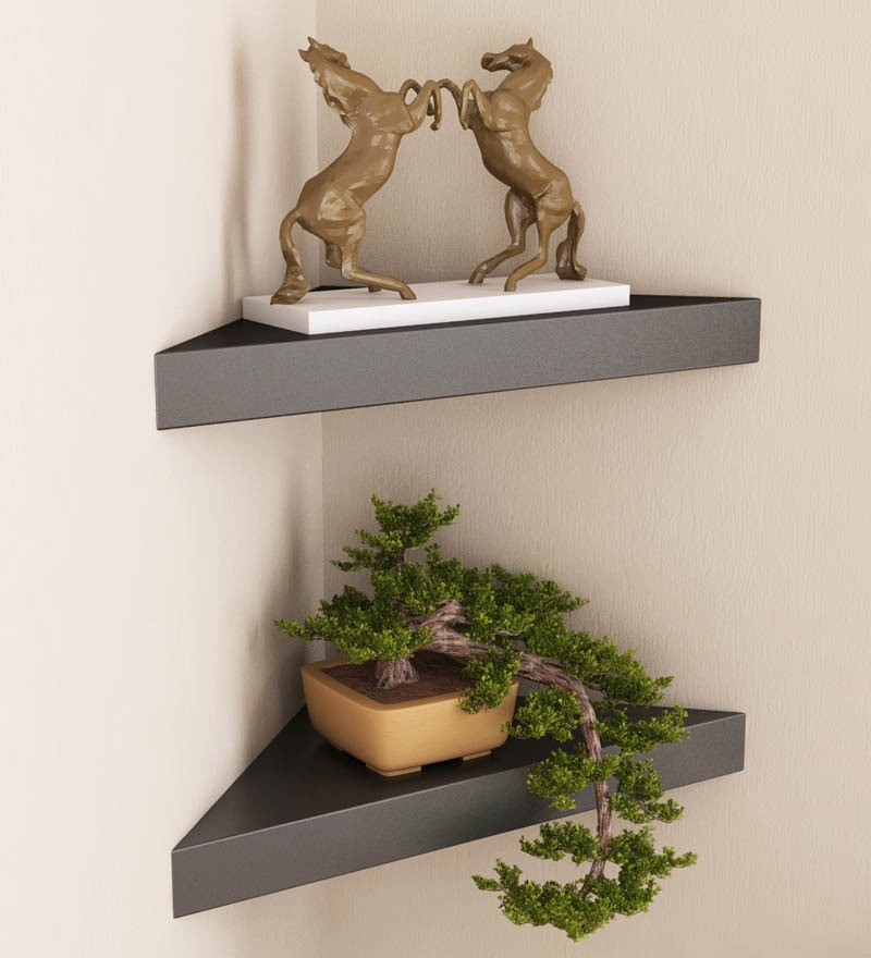 View Arsalan Artistic Corners Wooden Wall Shelf(Number of Shelves - 2) Furniture (Arsalan)
