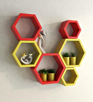 Ganeshaas GPHXD003YR Hexagon Shaped Red Yellow MDF Wall Shelf