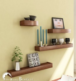 Home Sparkle Set of 4 Wall Nesting MDF Wall Shelf(Number of Shelves - 4, Brown)