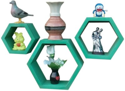 BM WOOD FURNITURE Hexagon set of 3 Wooden Wall Shelf