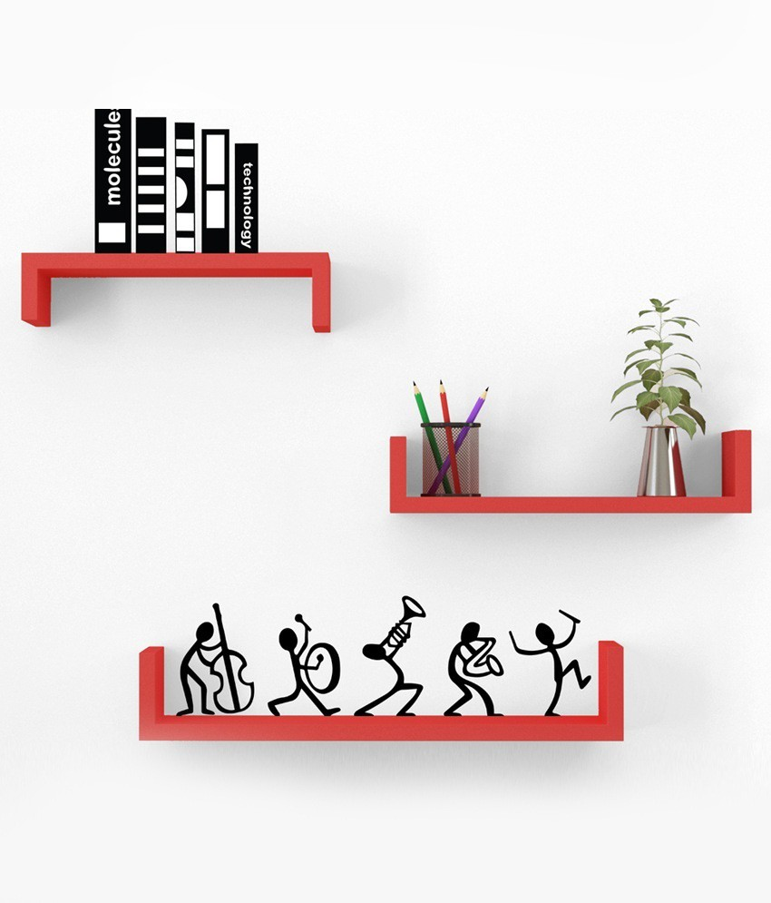 View Wallz Art U Shaped MDF Wall Shelf(Number of Shelves - 3, Red) Furniture (Wallz Art)