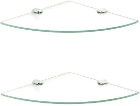 royaL indian craft Brass Bracket 10 inch Double Corner Glass Wall Shelf(Number of Shelves - 2, Clear)