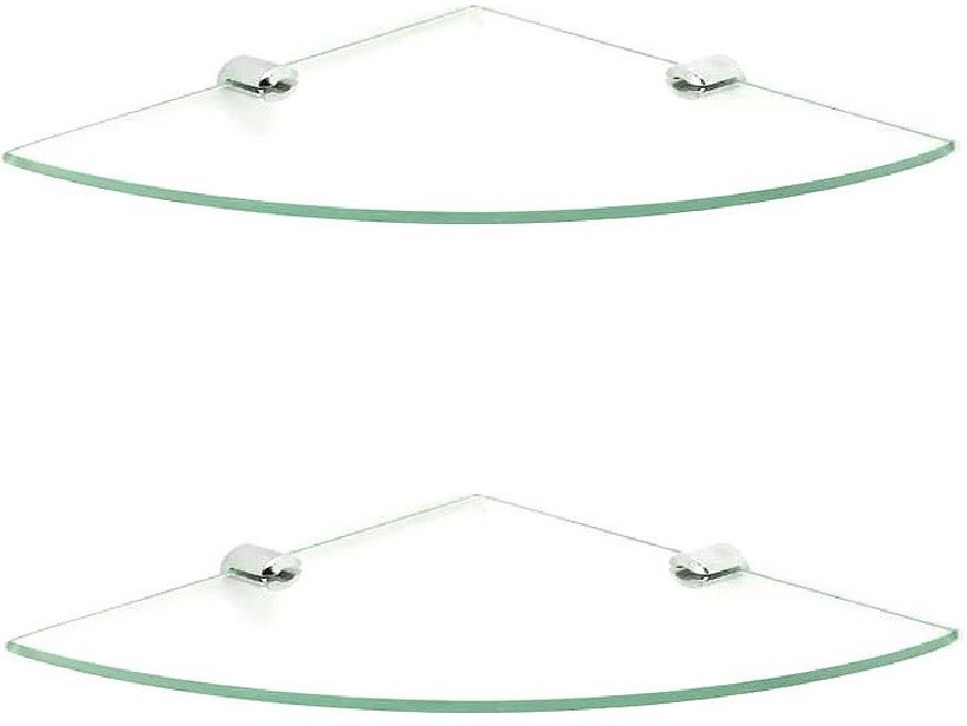 View Royal Indian Craft Brass Bracket 10 inch Double Corner Glass Wall Shelf(Number of Shelves - 2, Clear) Price Online(royaL indian craft)