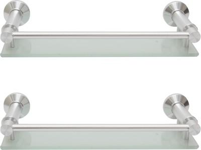 Dolphy Set Of 2 Bathroom Front Toughened Glass, Aluminium Wall Shelf
