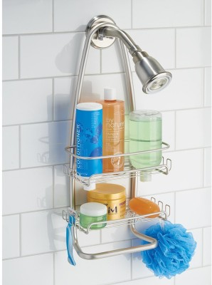 Interdesign Cora Bathroom Shower Caddy for Shampoo, Conditioner, Soap - Satin Steel Wall Shelf