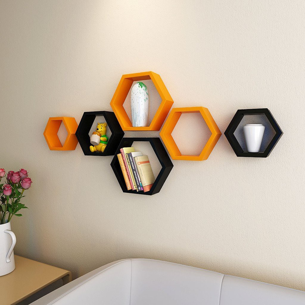 View ENCORE DECOR hexagon shape MDF Wall Shelf(Number of Shelves - 6, Black, Orange) Furniture (Encore Decor)
