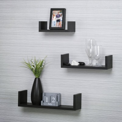 Custom Decor Wooden Wall Shelf(Number of Shelves - 3, Black)