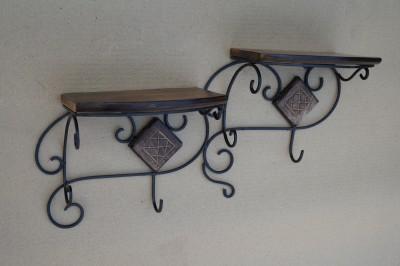 Saaga Wooden, Iron Wall Shelf