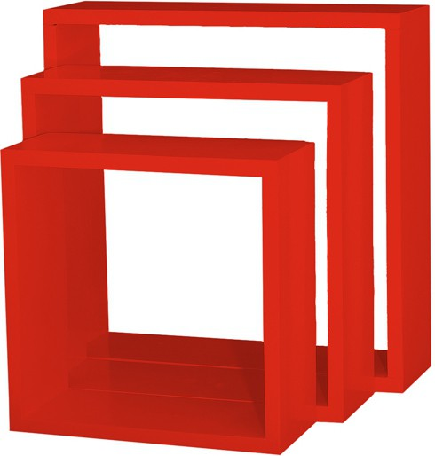 View Custom Decor Nesting Wooden Wall Shelf(Number of Shelves - 3, Red) Furniture (Custom Decor)