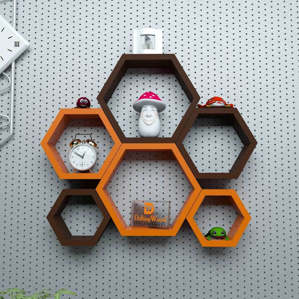 View DriftingWood Hexagon Shape Wooden Wall Shelf(Number of Shelves - 6, Brown, Orange) Furniture (DriftingWood)
