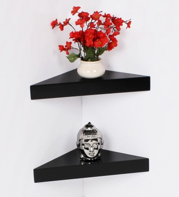 Bluewud MDF Wall Shelf(Number of Shelves - 1, Black)