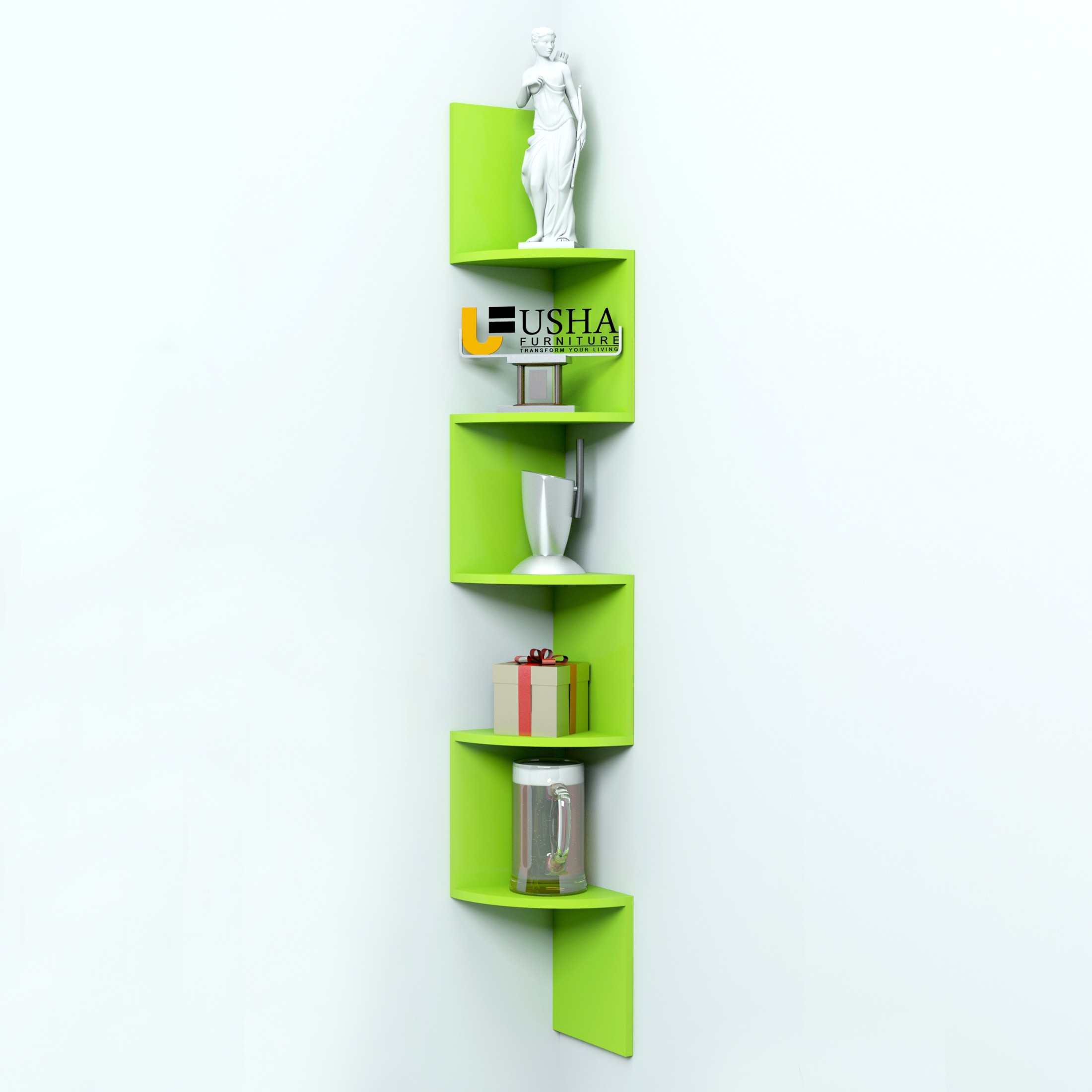 View Usha Furniture MDF Wall Shelf(Number of Shelves - 5, Green) Furniture (Usha Furniture)