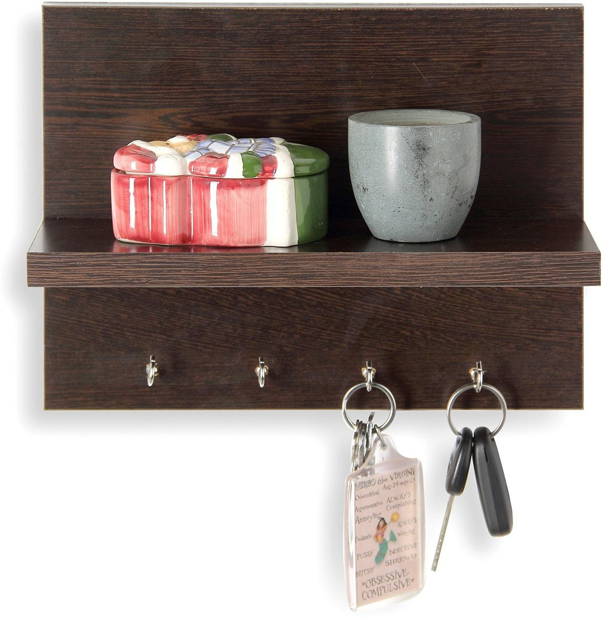 View Decorhand 4 Hooks Key holder Wooden Wall Shelf(Number of Shelves - 1, Brown) Furniture (Decorhand)