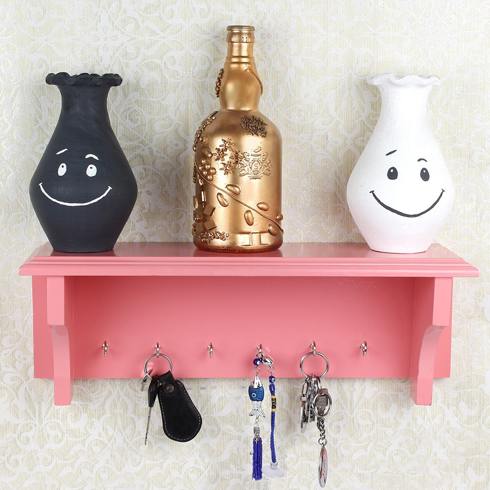 View OSE MDF WOOD KEY HOOKS WITH WALL MOUNTED D�COR SHELF Wooden Wall Shelf(Number of Shelves - 1, Pink) Furniture (OSE)