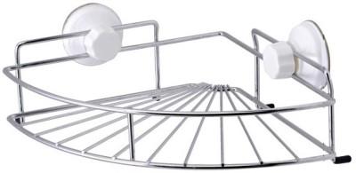 Gran Suction Cup Corner Shelf Silver Plated, Polypropylene Wall Shelf