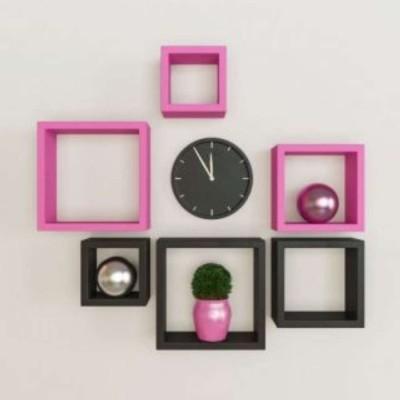 Ganeshaas GHWSDS007PB Pink Black Square MDF Wall Shelf