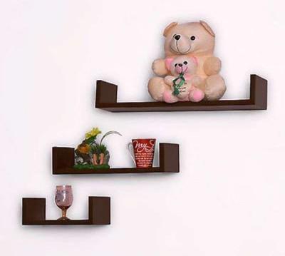 Ganeshaas GHWS019 U Shaped Brown MDF Wall Shelf