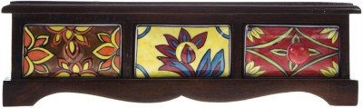 Smile2u Retailers Rajasthani hand art worked Wooden and ceramic Wooden, Ceramic Wall Shelf