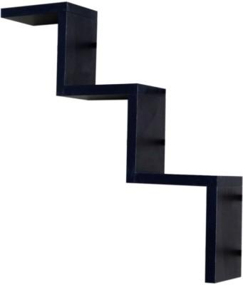 ENCORE DECOR W Shape MDF Wall Shelf(Number of Shelves - 1, Black)