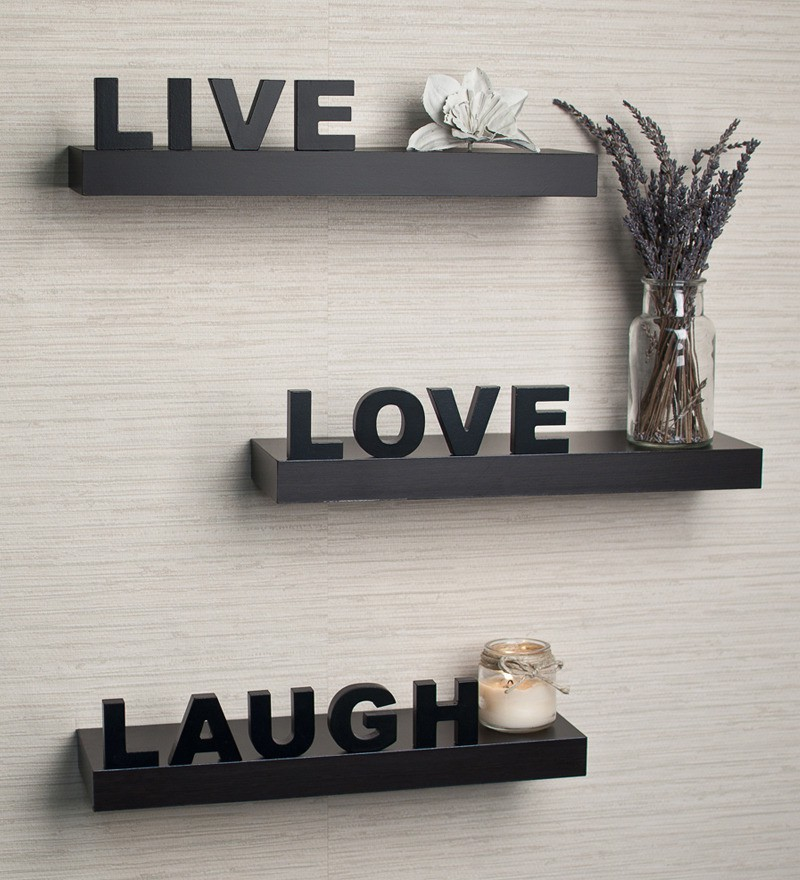 View Fabulo love live laugh Wooden Wall Shelf(Number of Shelves - 3) Furniture (Fabulo)