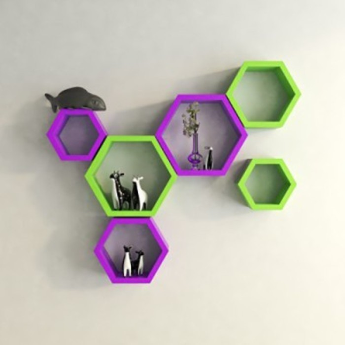 View Onlineshoppee Set Of 6 Hexagon shape Designer Storage Shelves - Purple & Green Wooden Wall Shelf(Number of Shelves - 6, Purple, Green) Price Online(Onlineshoppee)