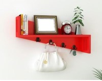 Onlineshoppee Wooden Wall Shelf(Number of Shelves - 1, Red)