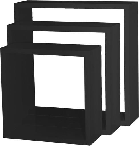 View Custom Decor Nesting Wooden Wall Shelf(Number of Shelves - 3, Black) Furniture (Custom Decor)