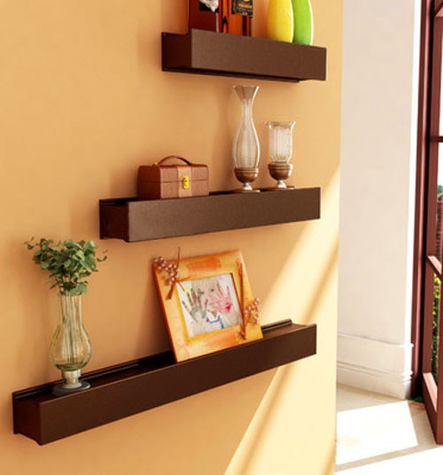 View Decorhand MDF Wall Shelf(Number of Shelves - 3, Brown) Furniture (Decorhand)