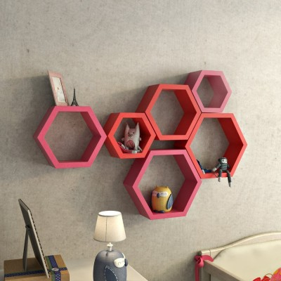 ENCORE DECOR MDF Wall Shelf(Number of Shelves - 6, Pink, Red) at flipkart