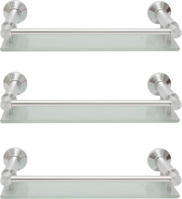 Dolphy Set Of 3 Bathroom Front Toughened Glass, Aluminium Wall Shelf