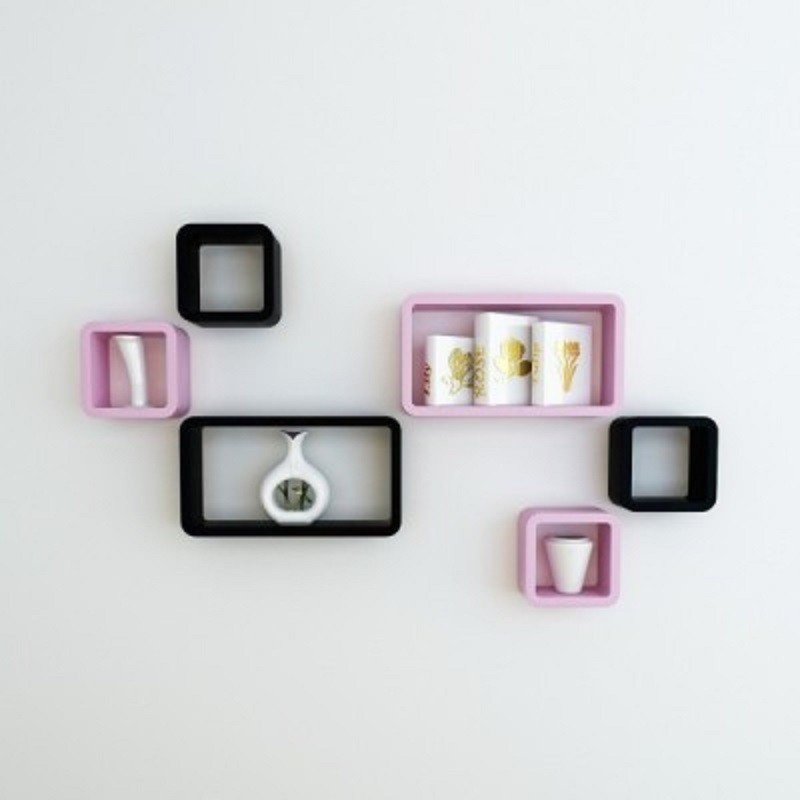 View Wallz Art Cube Rectangle MDF Wall Shelf(Number of Shelves - 6, Pink) Furniture (Wallz Art)