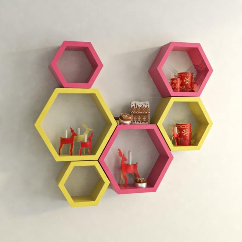 Wallz Art Hexagon Shape MDF Wall Shelf(Number of Shelves - 6, Pink)