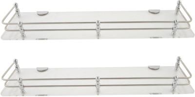 Dolphy Set Of 2 Shelf-15x5 Inch Microfibre, Stainless Steel Wall Shelf