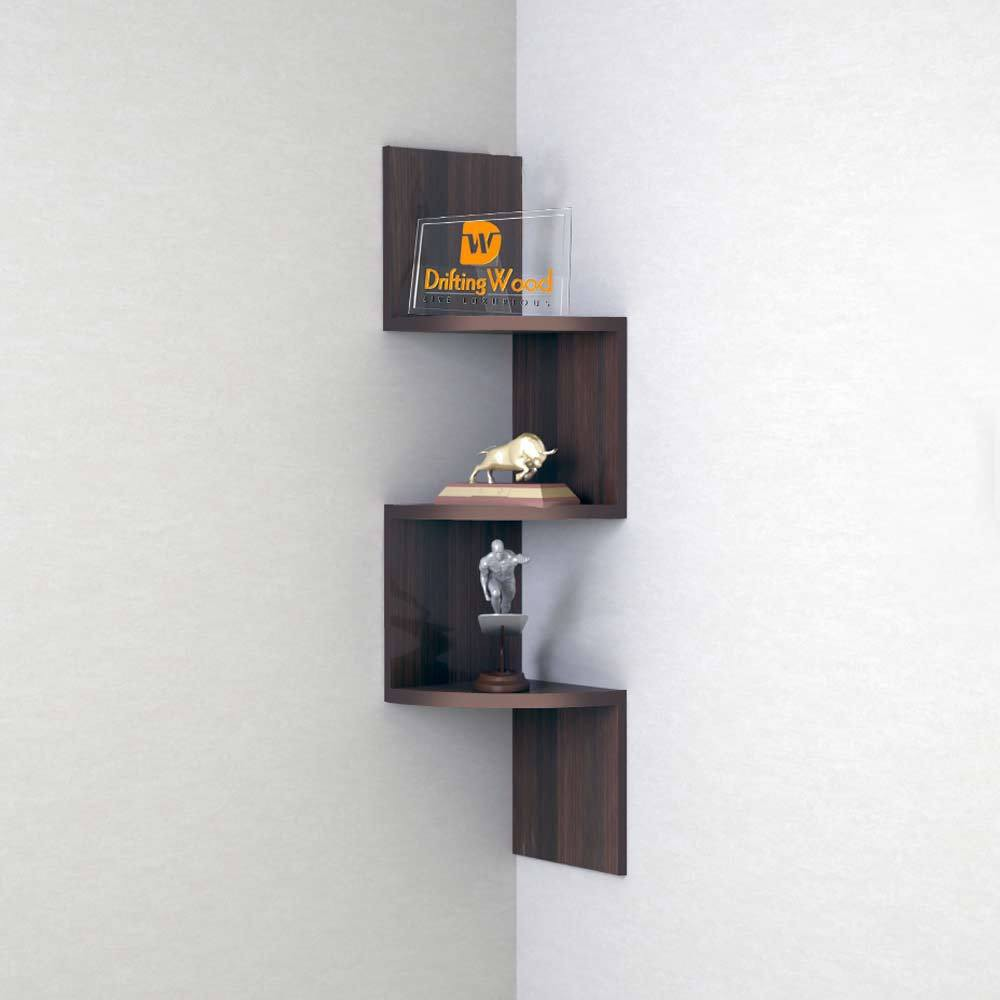 View DriftingWood Zigzag Shape Corner Wooden Wall Shelf(Number of Shelves - 3, Brown) Furniture (DriftingWood)