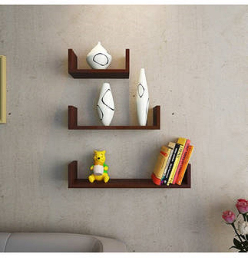 View Wallz Art U Shaped MDF Wall Shelf(Number of Shelves - 3, Brown) Furniture (Wallz Art)