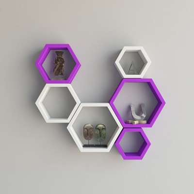 Ganeshaas Gphxd006vw Purple N White Beehive Hexagon Floating MDF Wall Shelf