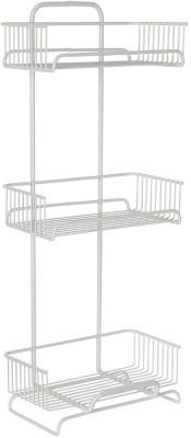 Howards Powder Coated Designer Series 3 Tier Bathroom Tower - White Steel Wall Shelf(Number of Shelves - 3, White)