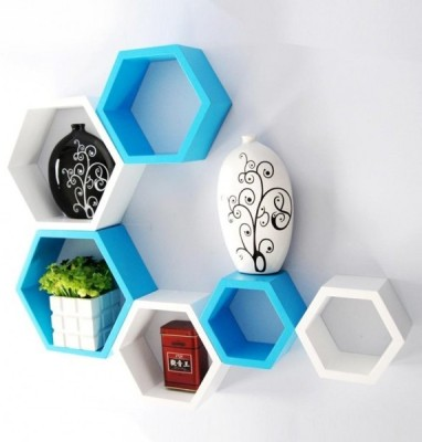 Ganeshaas GPHXD004BW Hexagon Shaped Blue White MDF Wall Shelf